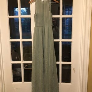 Floor Length Slate Green Dress. Sleeveless